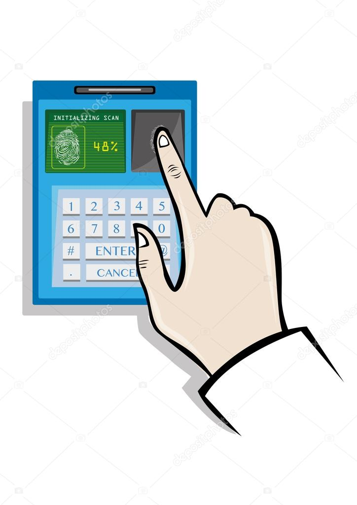 724x1024 Fingerprint Biometrics Technology Concept. Editable Clip Art