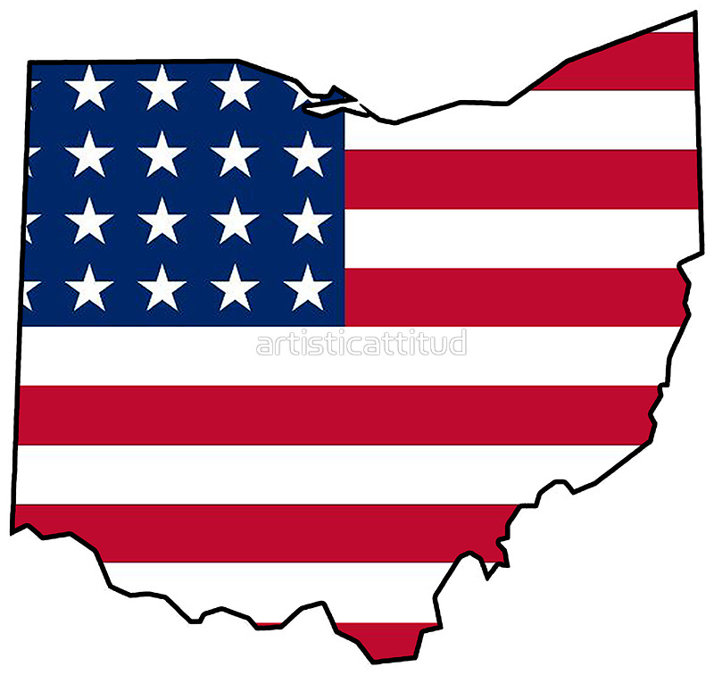 800x756 American Flag Ohio Outline Stickers By Artisticattitud Redbubble
