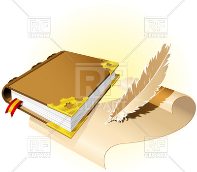 400x349 Old Magic Book With Scroll And Feather Royalty Free Vector Clip
