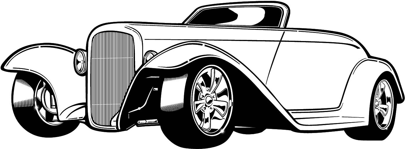 1396x512 Classic Car Clipart Line Art