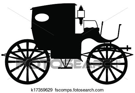 450x308 Clip Art Of Old Carriage Silhouette K17359629