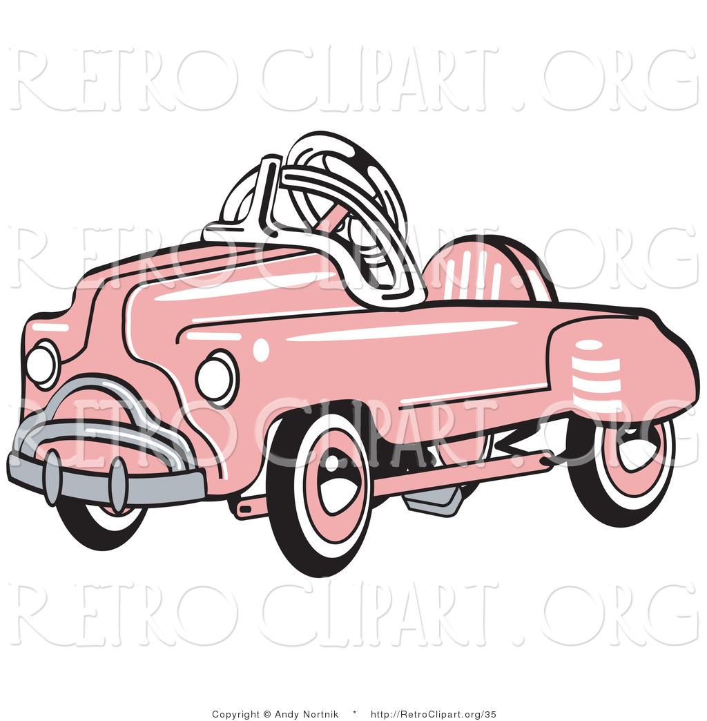 1024x1044 Retro Clipart Of An Old Fashioned Pink Metal Pedal Convertible Toy