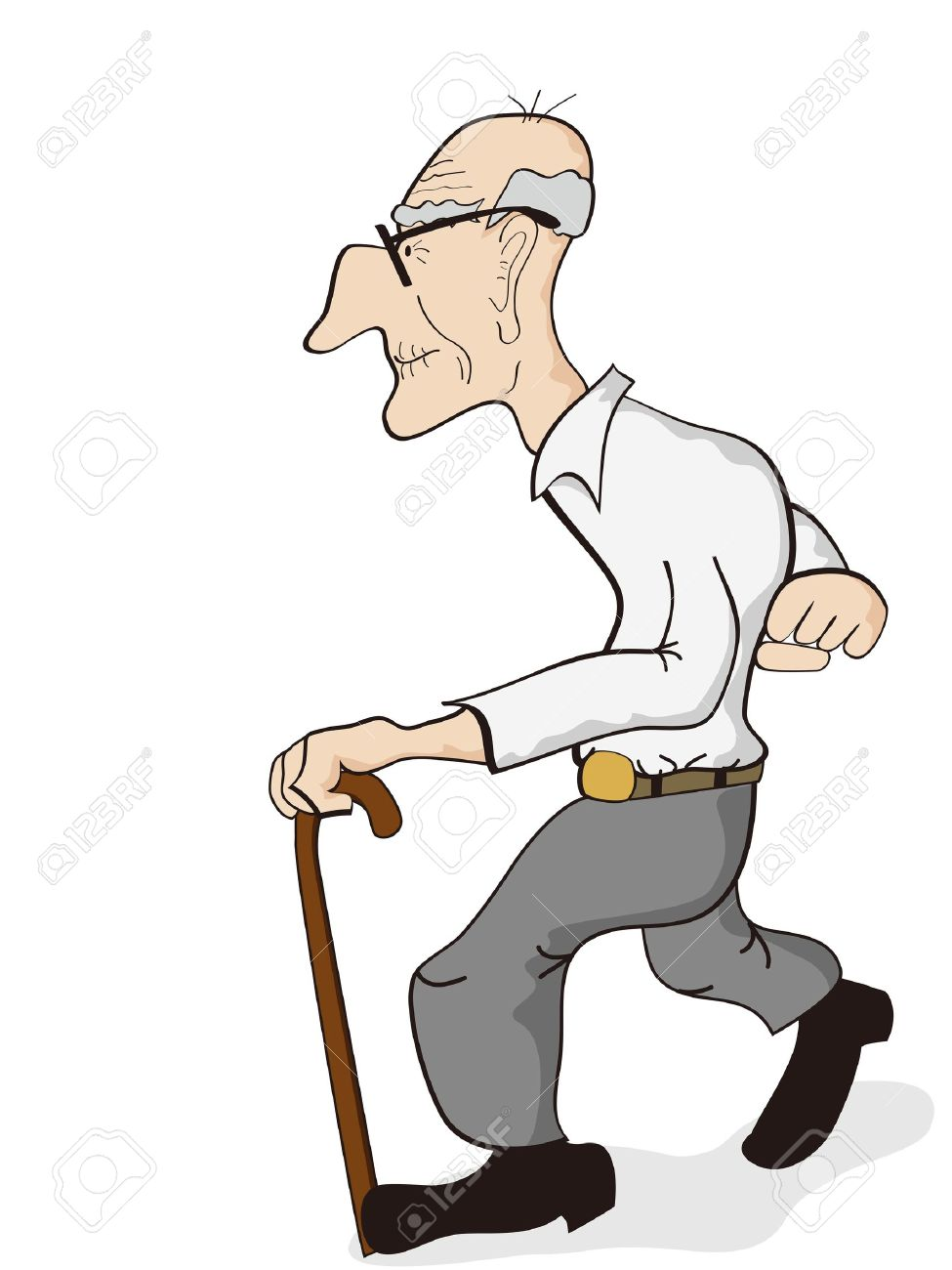 975x1300 Isolated An Old Man Walking On The White Background Royalty Free