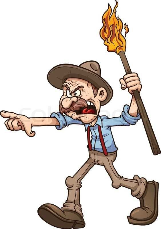 563x800 Angry Old Man Carrying A Torch. Vector Clip Art Illustration