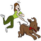 170x170 Clipart Of Illustration Of Old Lady Trying To Walk With Big Dog