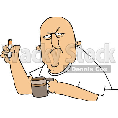 400x400 Free (Rf) Cliprt Illustration Of Grumpy Old Man Smoking