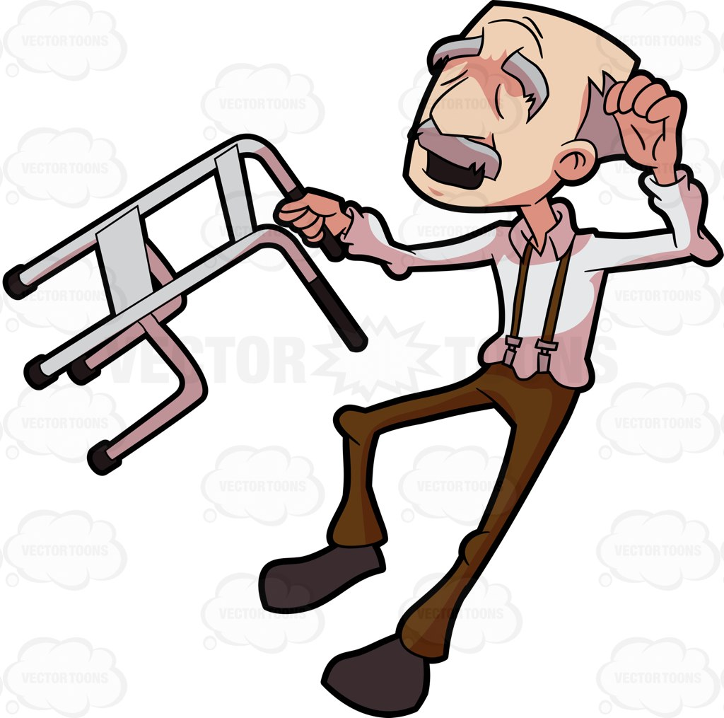 1024x1015 Old Man With Walker Clipart