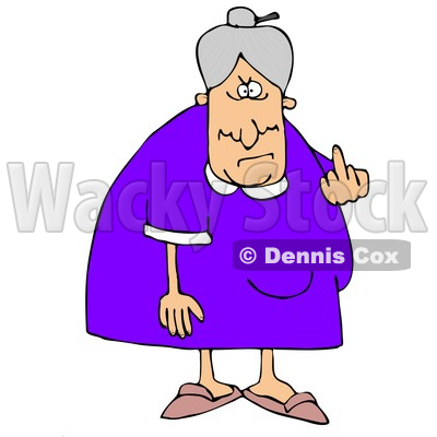 400x400 Illustration Of A Mean Old Caucasian Lady With Gray Hair Flipping
