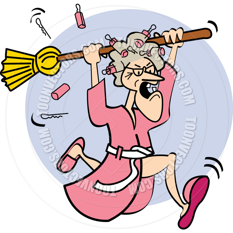 940x940 Cartoon Old Lady With Broom Vector Illustration By Clip Art Guy