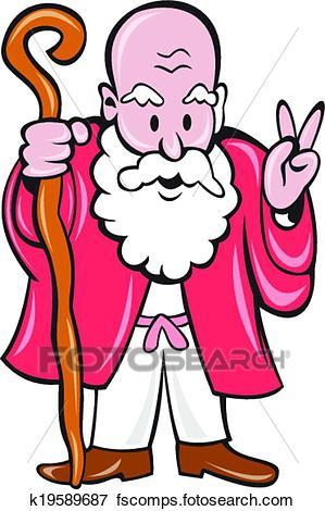 299x470 Clip Art Of Bearded Old Man Staff Peace Sign Cartoon K19589687