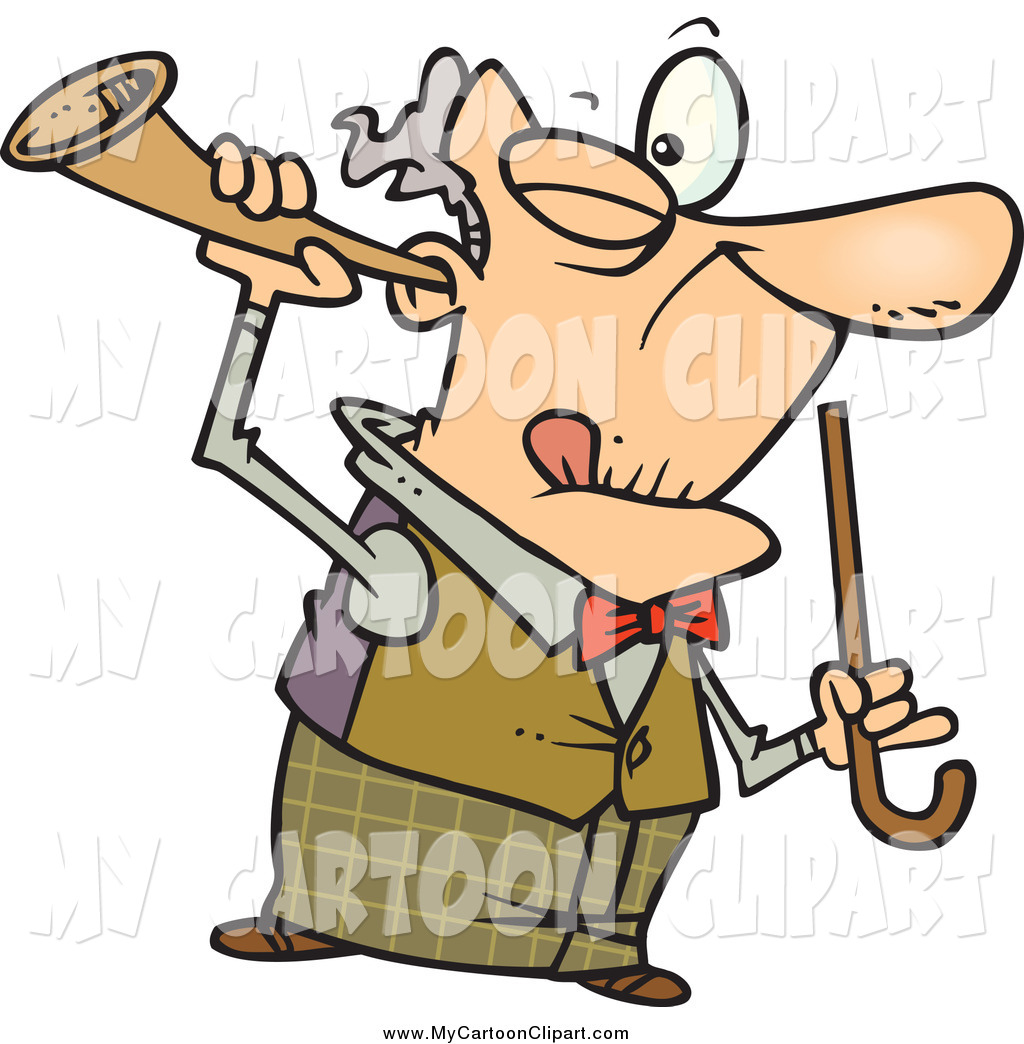 1024x1044 Clip Art Of A Cartoon Old Man Holding A Trumpet To His Ear By