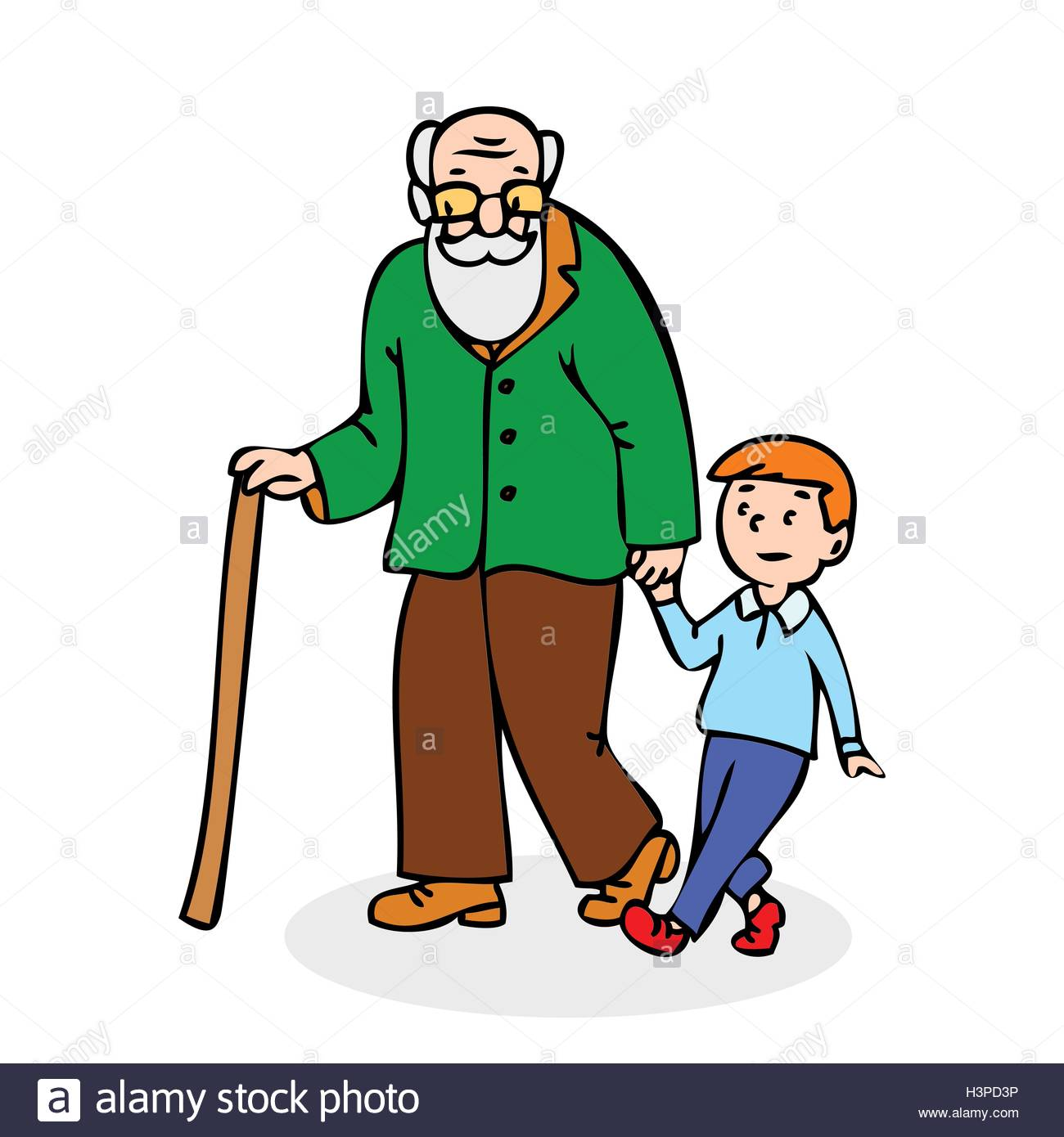 1300x1390 Grandfather With Grandson. Funny Old Man With Walking Cane