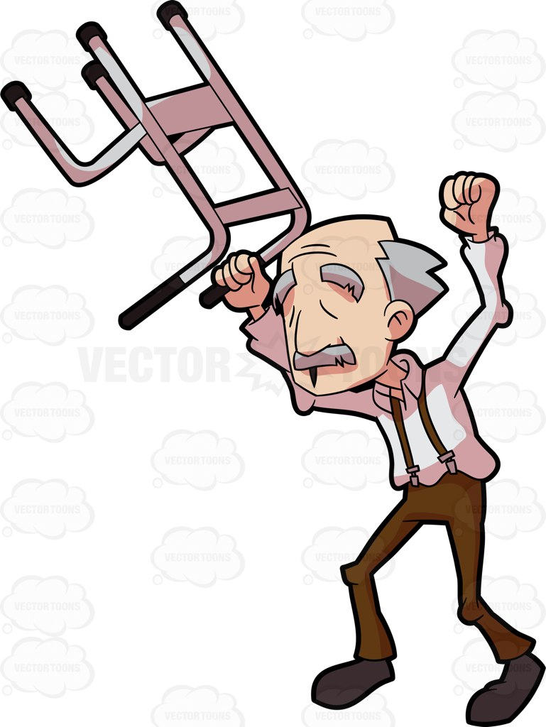 769x1024 A Happy Grandpa Lifting His Walker In The Air Cartoon Clipart