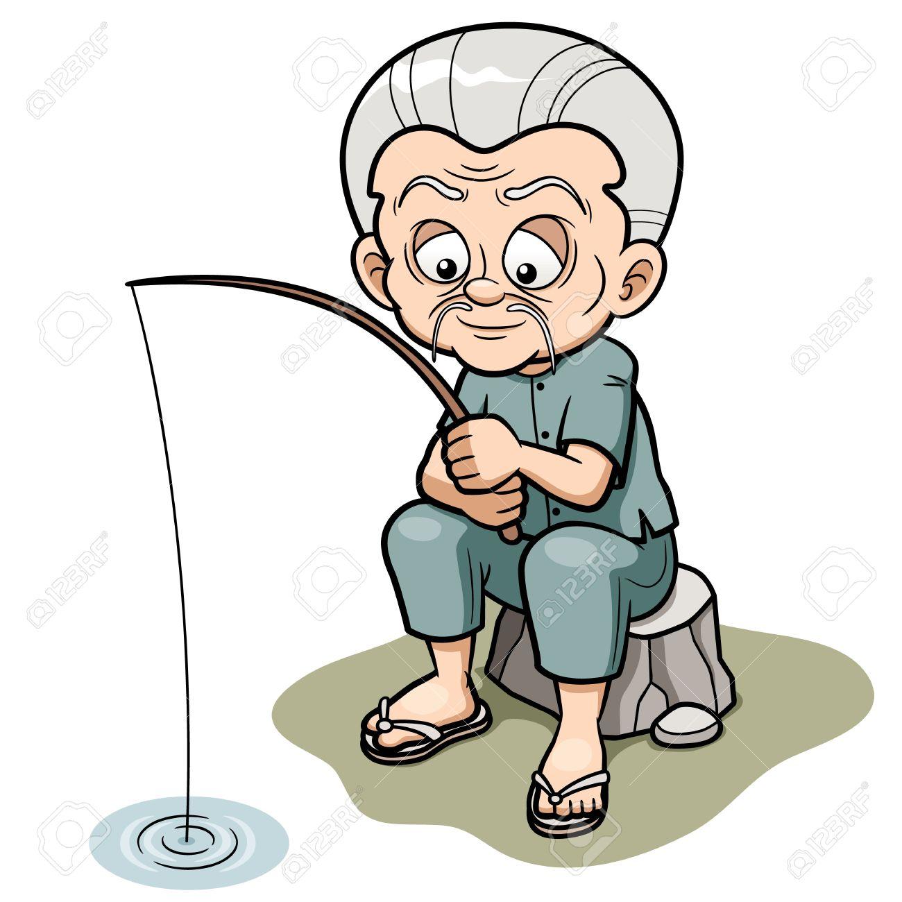 1300x1300 Vector Illustration Of Cartoon Old Man Fishing Royalty Free