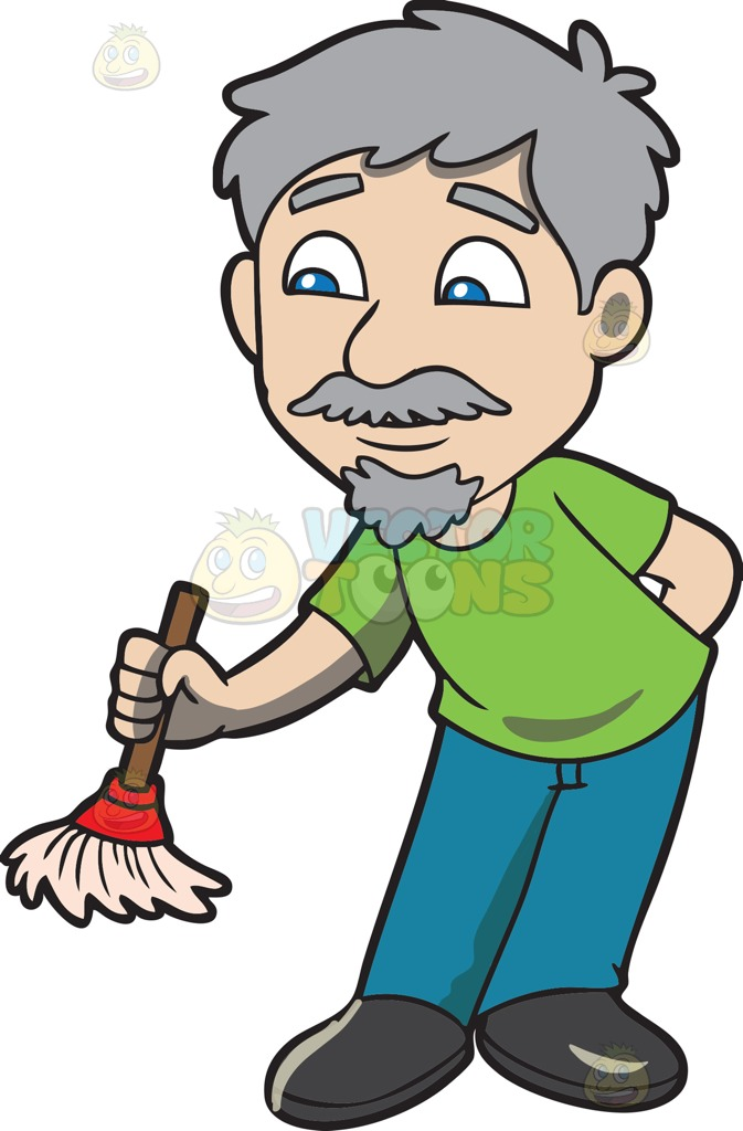 673x1024 An Old Man With A Small Broom Cartoon Clipart