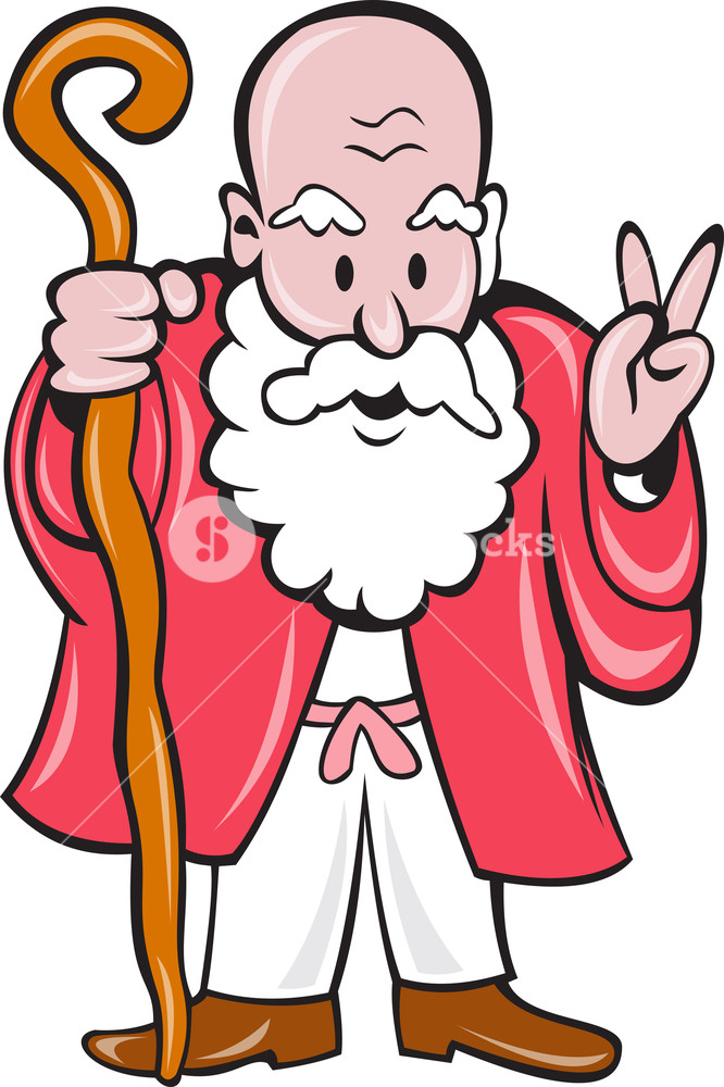 666x1000 Bearded Old Man Staff Peace Sign Cartoon Royalty Free Stock Image