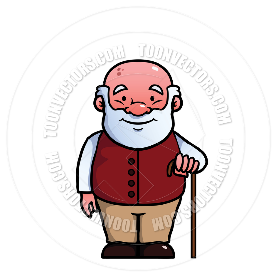940x940 Cartoon Old Man Holding A Cane By Colin Cramm Illustration