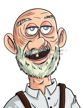 345x450 Cartoon Old Man With One Tooth. Isolated Royalty Free Cliparts