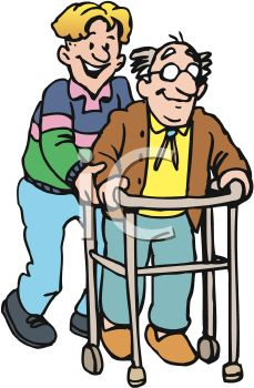 229x350 Assistant Helping An Old Man Using A Walker
