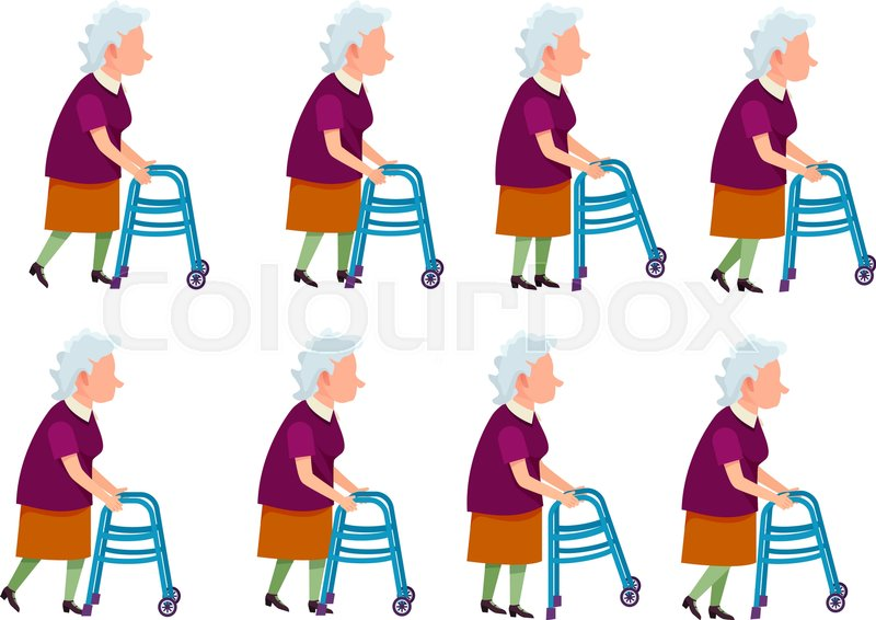 800x566 Collection Of Icons With Old Woman. Retired Female With Rolling