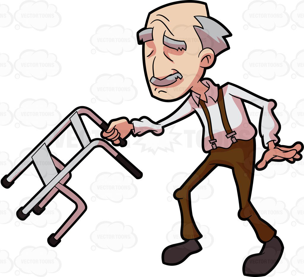 1024x931 A Grandpa Dancing And Swinging With His Walker Cartoon Clipart
