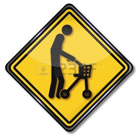 450x450 Sign Old Man With Walker Royalty Free Cliparts, Vectors, And Stock