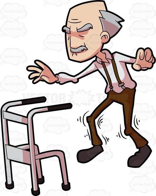 508x640 A Grandpa Tries To Walk Without The Aid Of A Walker Cartoon