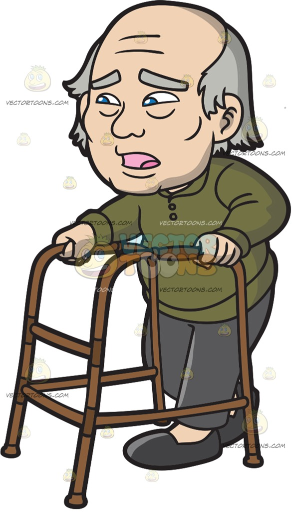 585x1024 A Surprised Old Man With A Walker Cartoon Clipart