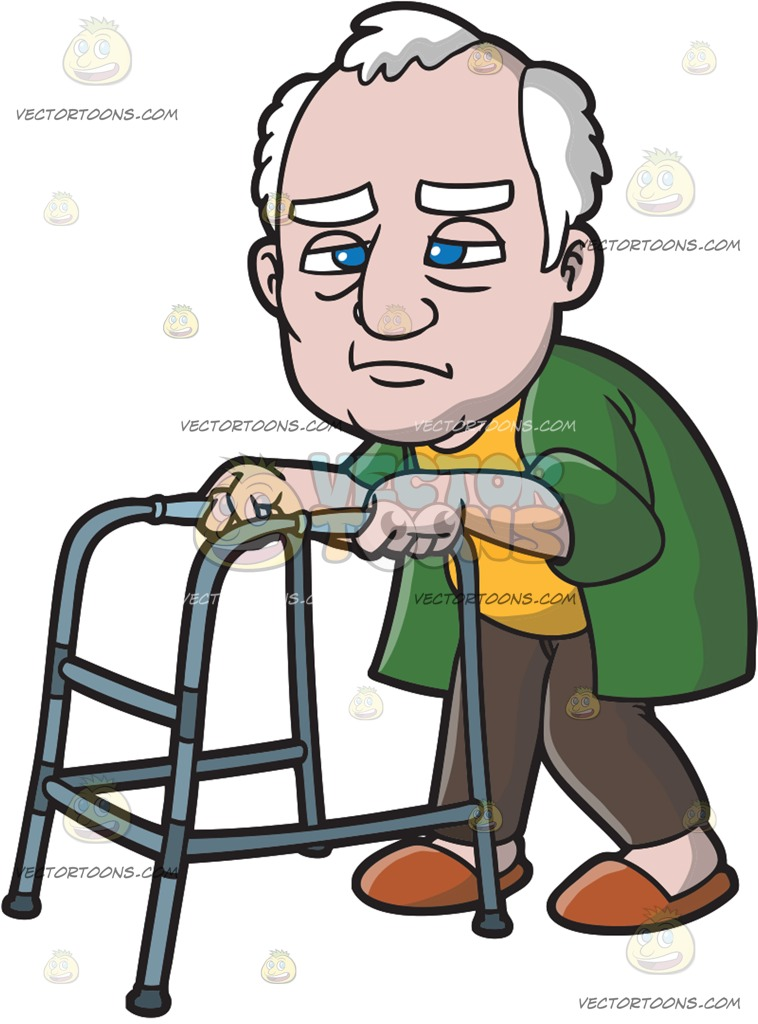 758x1024 A Weakening Old Man With A Walker Cartoon Clipart