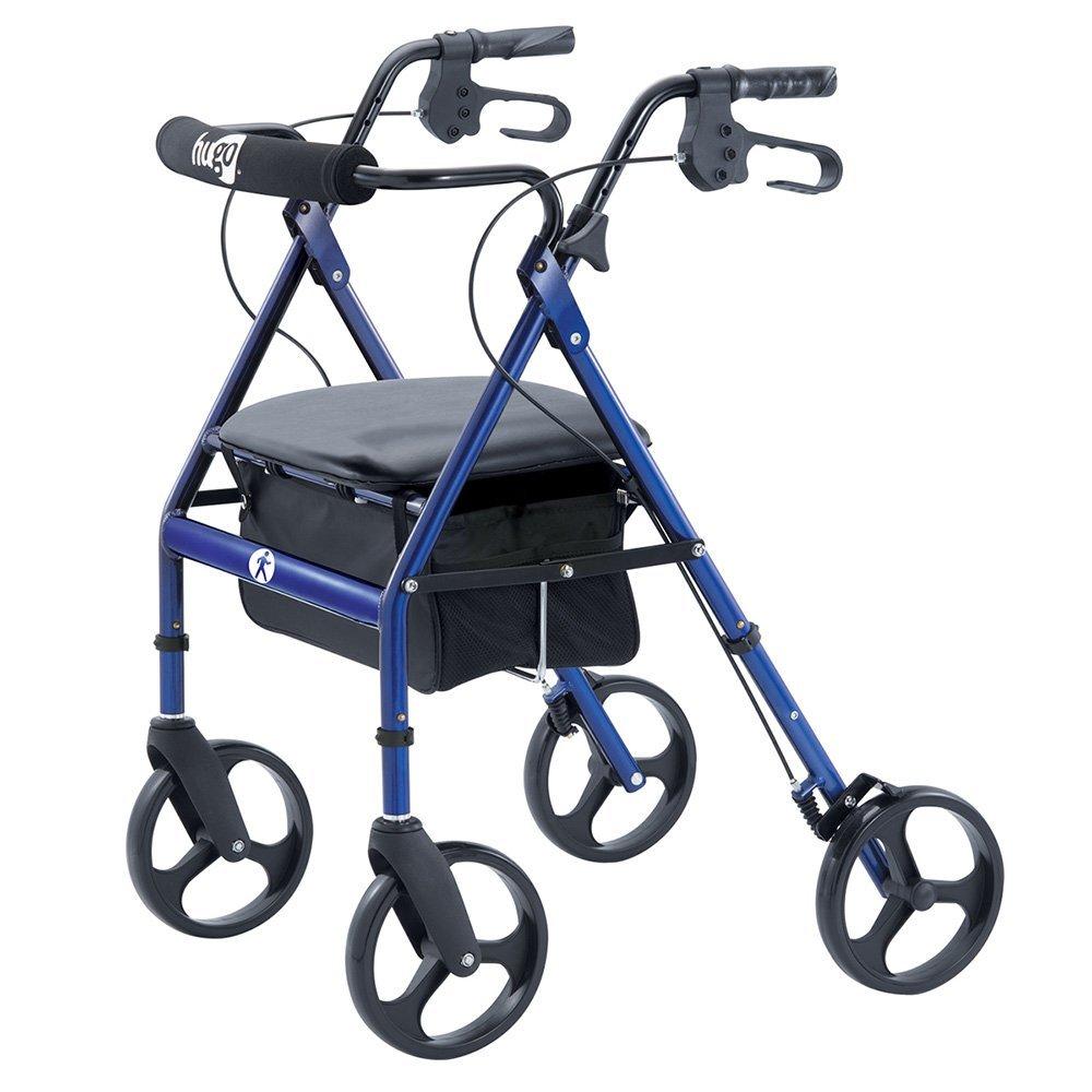 1000x1000 Hugo Portable Rollator Walker With Seat, Backrest