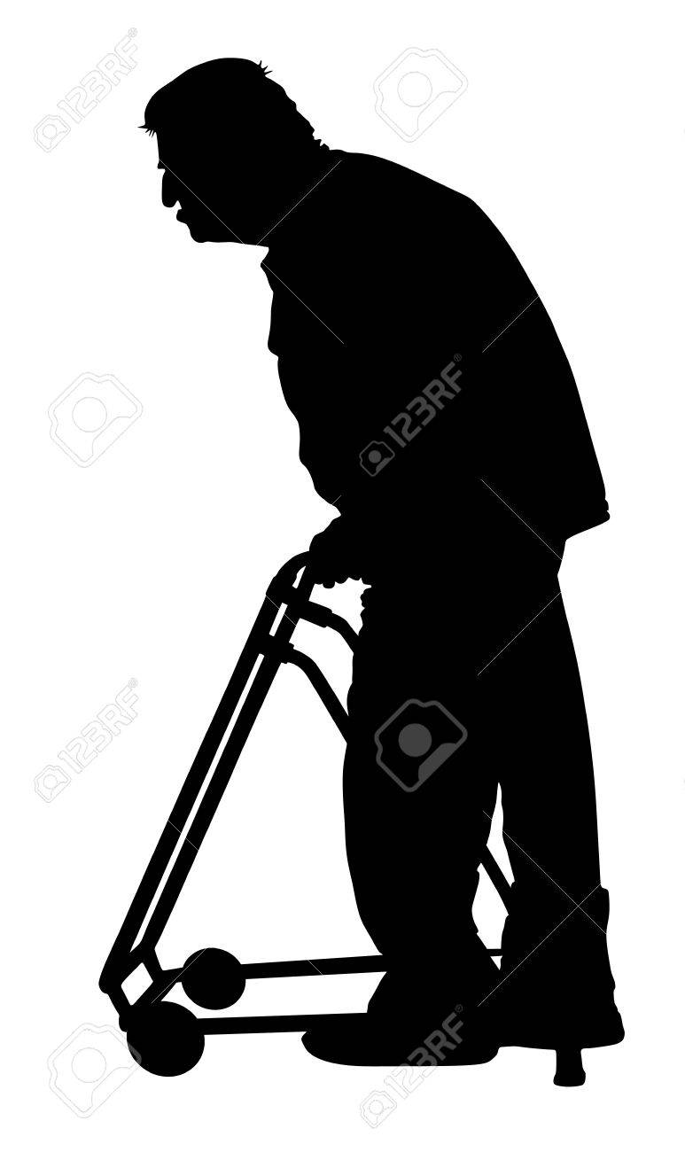 773x1300 Old Man Person Walking With Walker. Vector Character Isolated