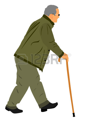 329x450 A Senior Disabled Man Strolls With His Wheeling Walker, Vector