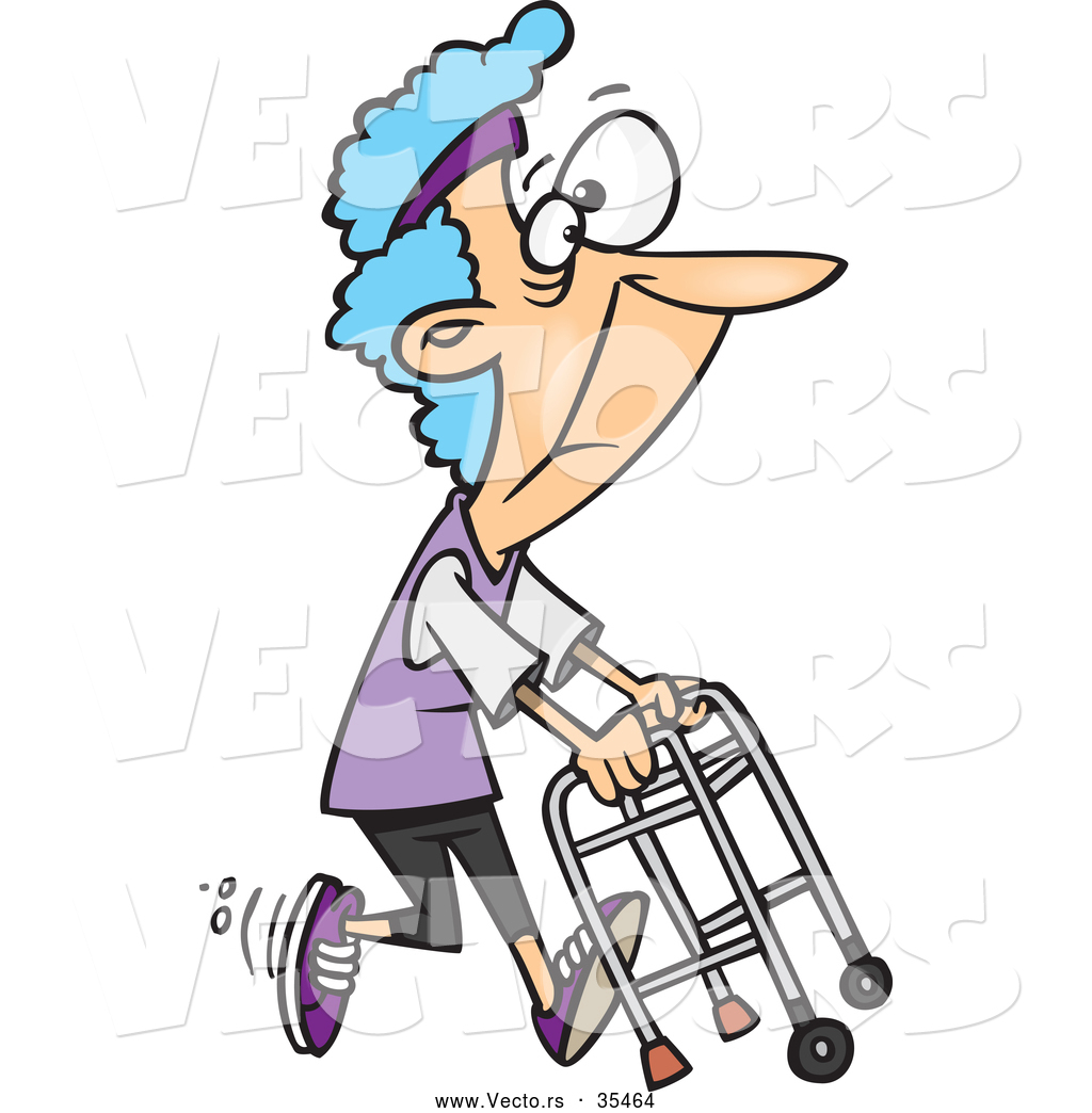 1024x1044 Vector Of A Healthy Cartoon Granny Running With A Walker By