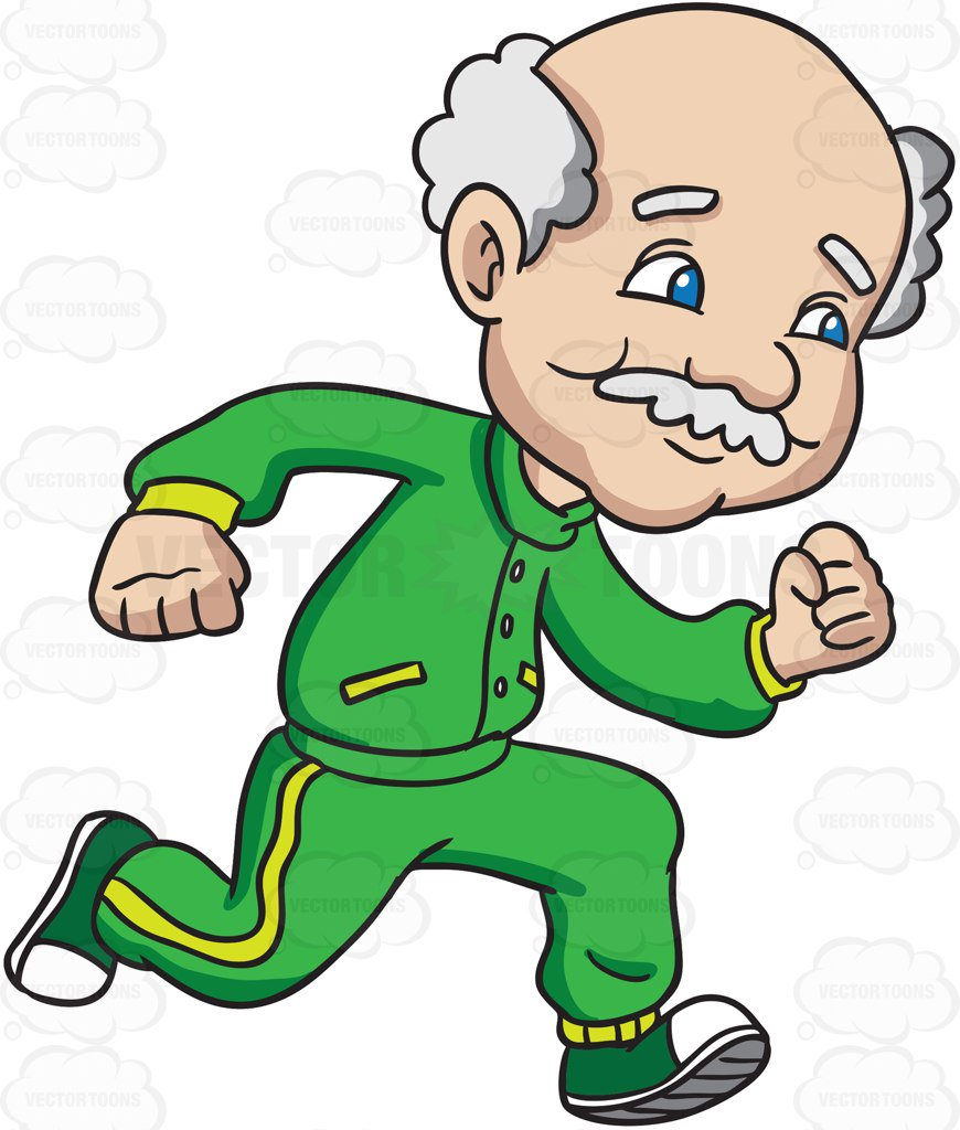 870x1024 A Charming Grandpa Sprints For A Workout Cartoon Clipart