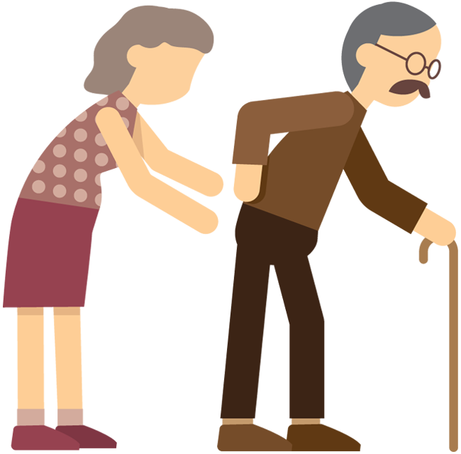 650x640 Cartoon Old Woman Supporting Old Man With Cane Walking 1designshop