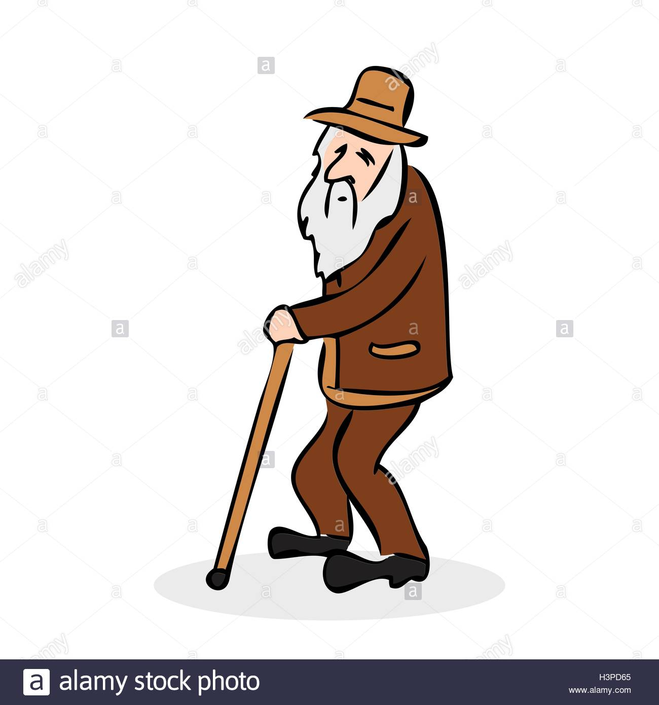 1300x1390 Funny Old Man With Hat And Walking Cane. Grandfather With A Long