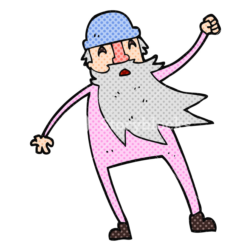 1000x1000 Freehand Drawn Cartoon Old Man In Thermal Underwear Royalty Free
