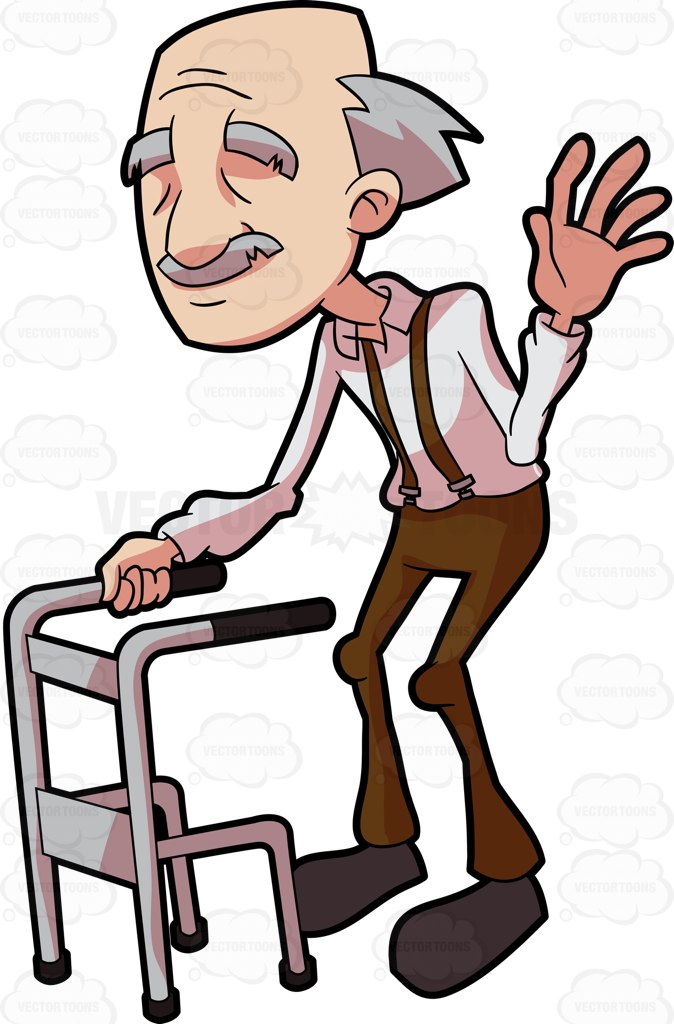 674x1024 A Smiling Grandpa Waving Hello Cartoon Clipart