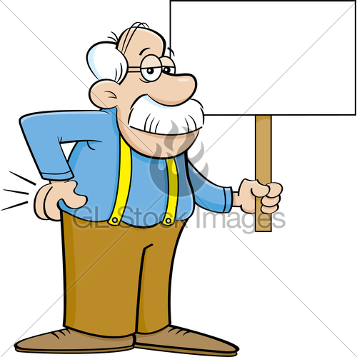 500x500 Cartoon Old Man Holding A Sign. Gl Stock Images