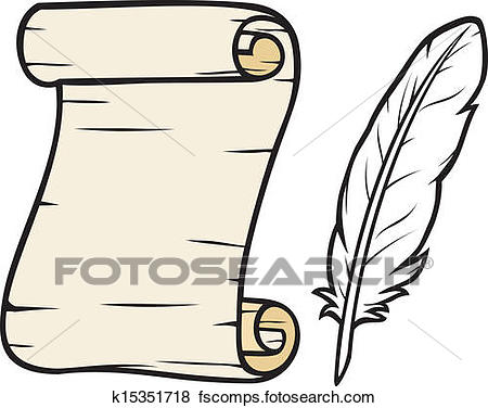 450x376 Clip Art Of Old Paper With Feather K15351718