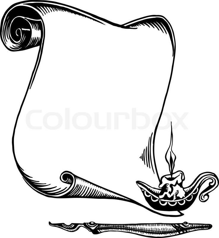 737x800 Scroll Of Old Paper, A Pen And A Candle. Stock Vector Colourbox