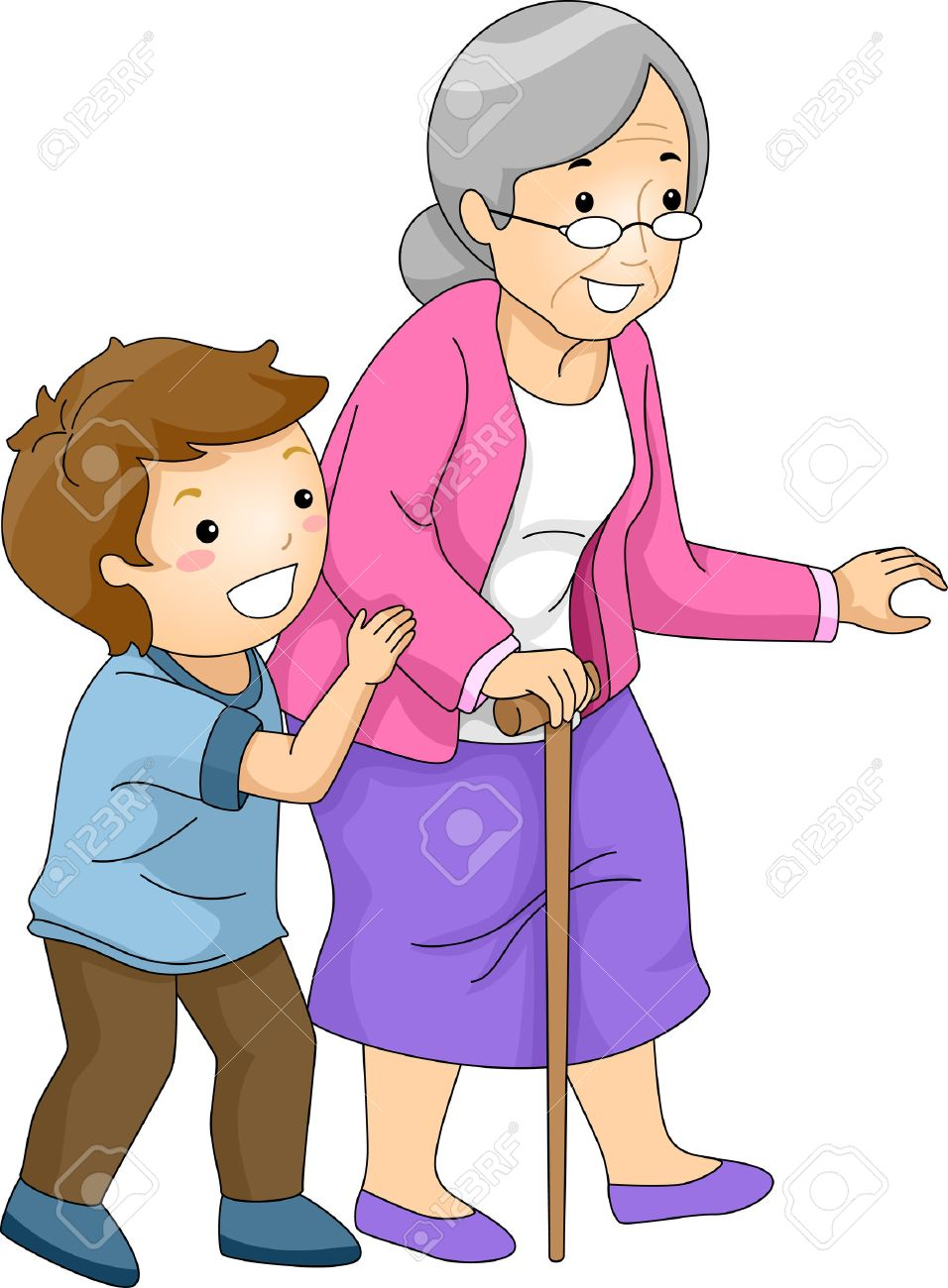 956x1300 Illustration Of A Little Boy Helping An Old Woman Cross The Street