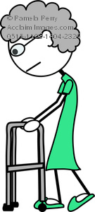 135x300 Art Image Of A Stick Figure Of An Old Woman Using A Walker