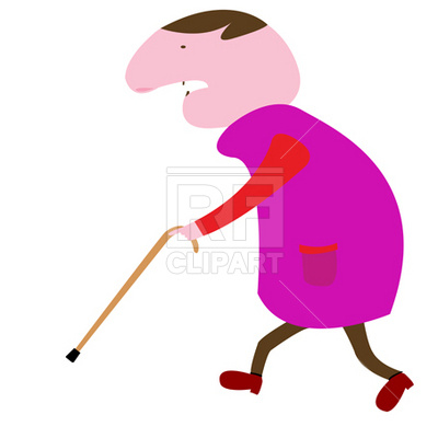 400x400 Old Man With Crutch Royalty Free Vector Clip Art Image