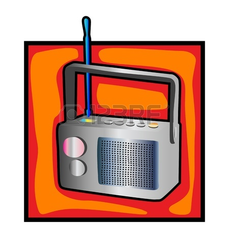 450x450 Vector Black And White Illustration Of An Old Radio Royalty Free