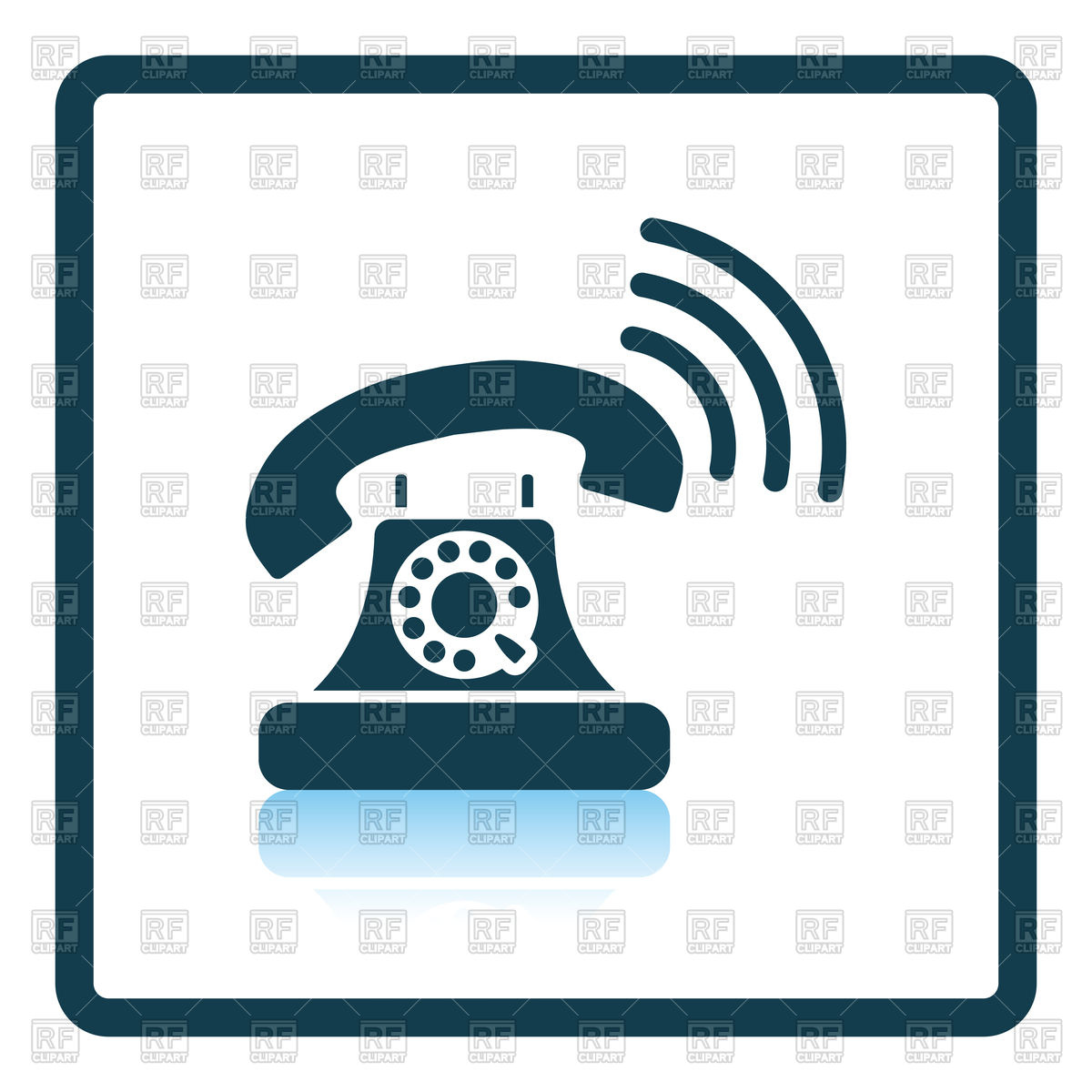 1200x1200 Shadow Reflection Design Of Old Telephone Icon Royalty Free Vector