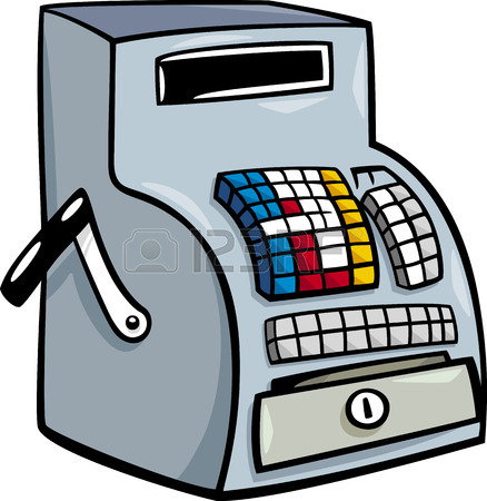 438x450 Cartoon Illustration Of Old Till Or Cash Register Clip Art Royalty