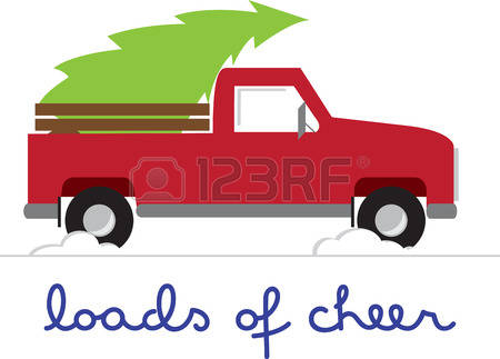 450x323 Red Truck With Christmas Tree Clipart