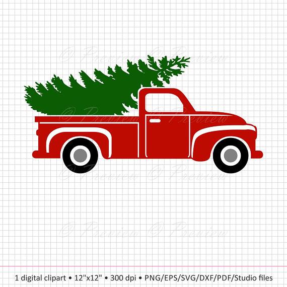 570x570 Buy 2 Get 1 Free Digital Clipart Christmas Tree Truck