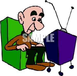 300x298 Art Image An Elderly Bald Man Sitting In A Chair Watching Tv